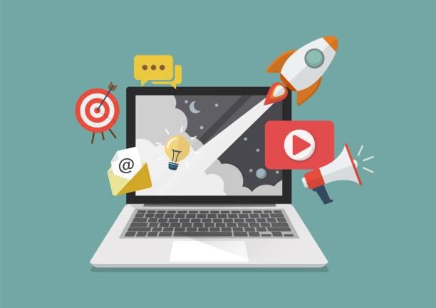 digital marketing concept poster design - marketing stock illustrations