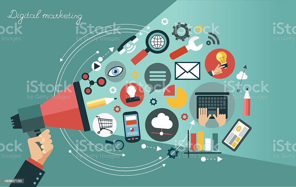 Digital marketing concept vector art illustration