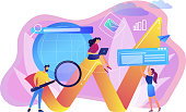 Team of specialists with magnifier and laptop and arrow. Digital marketing, PPC campaign, customer relationships concept on white background. Bright vibrant violet vector isolated illustration