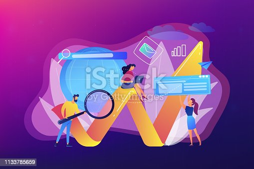 Team of specialists with magnifier and laptop and arrow. Digital marketing, PPC campaign, customer relationships concept on ultraviolet background. Bright vibrant violet vector isolated illustration