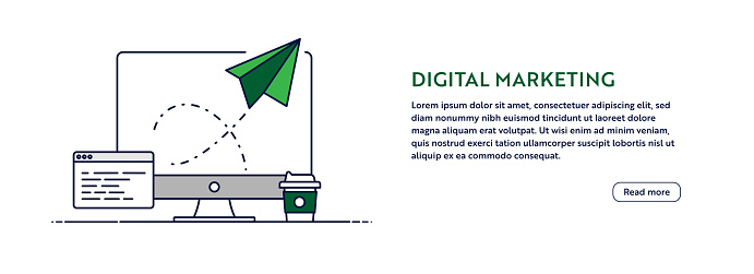 Digital Marketing Concept with Line Computer Illustration. Minimal Design for Web Banner, Poster, Flyer and Brochure Template with Paper Airplane Icon.