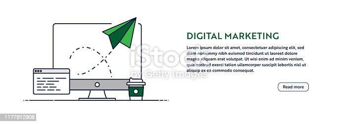 Digital Marketing Concept with Line Computer Illustration. Minimal Design for Web Banner, Poster, Flyer and Brochure Template with Paper Plane Icon.