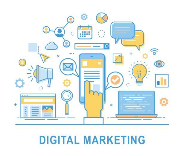 digital marketing consept thin line design. - digital marketing stock illustrations