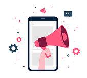 istock Digital Marketing, Digital Mobile and Affiliate Online Social Media. Marketing Strategy Concept. Refer A Friend Advertising. mobile phone, Hand hold megaphone, flat Vector Illustration 1262582736