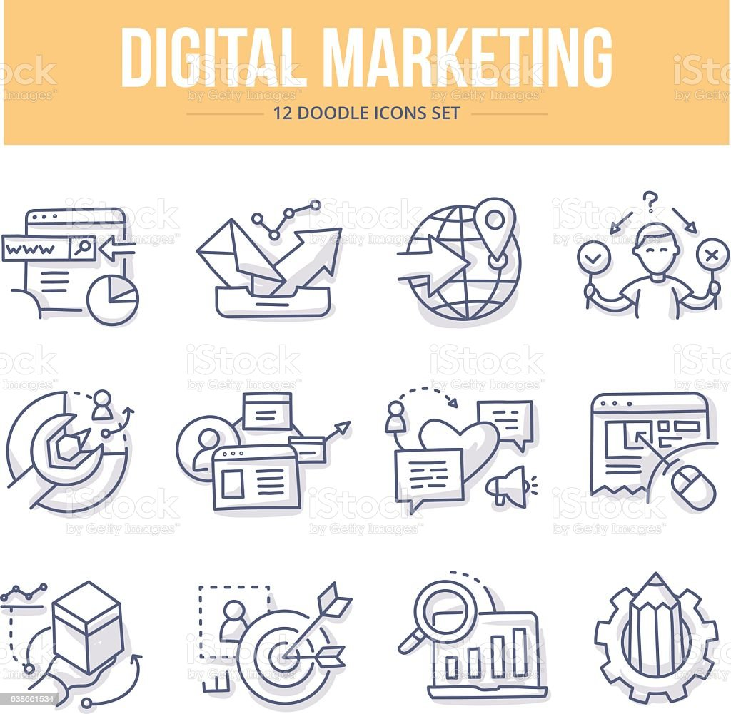 Digital Marketing Doodle Icons vector art illustration