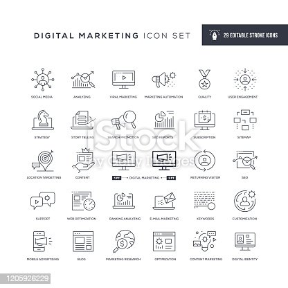 29 Digital Marketing Icons - Editable Stroke - Easy to edit and customize - You can easily customize the stroke with