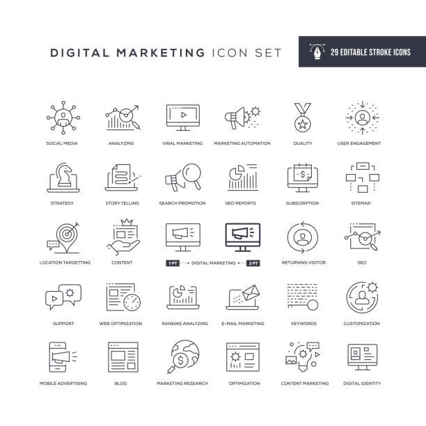 Digital Marketing Editable Stroke Line Icons 29 Digital Marketing Icons - Editable Stroke - Easy to edit and customize - You can easily customize the stroke with digital marketing stock illustrations