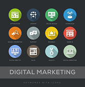 Digital Marketing Flat Design 12 Icons