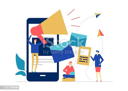 Digital marketing - flat design style colorful illustration on white background. High quality composition with male, female colleagues, business team, megaphone, smartphone, emails, paper planes