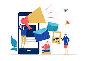 Digital marketing - flat design style colorful illustration