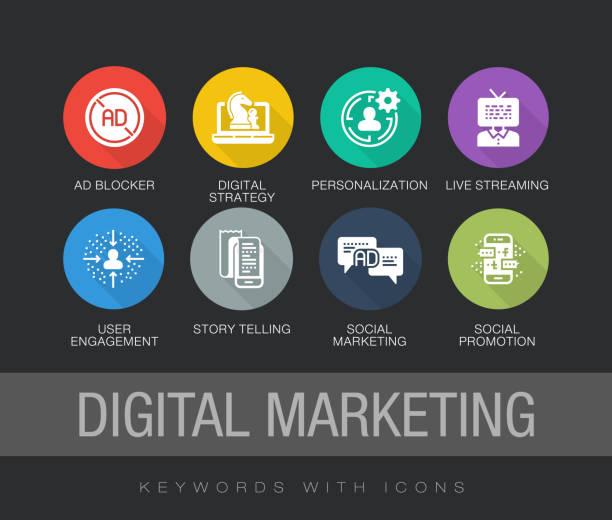 digitales marketing flache symbol-set - lesestrategien stock-grafiken, -clipart, -cartoons und -symbole