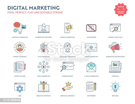 Digital Marketing Flat Icon Set with Editable Stroke and Pixel Perfect.