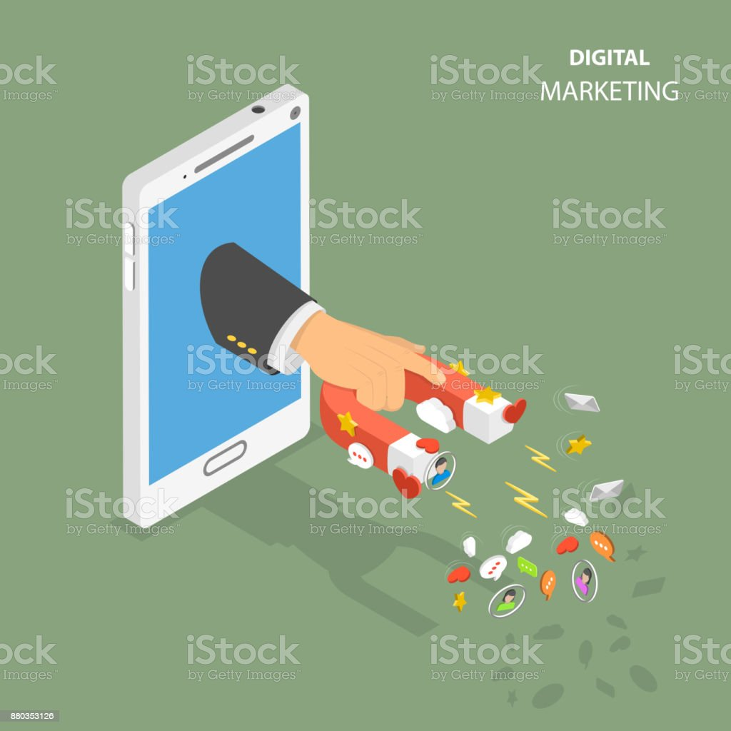 Digital marketing flat isometric vector concept vector art illustration