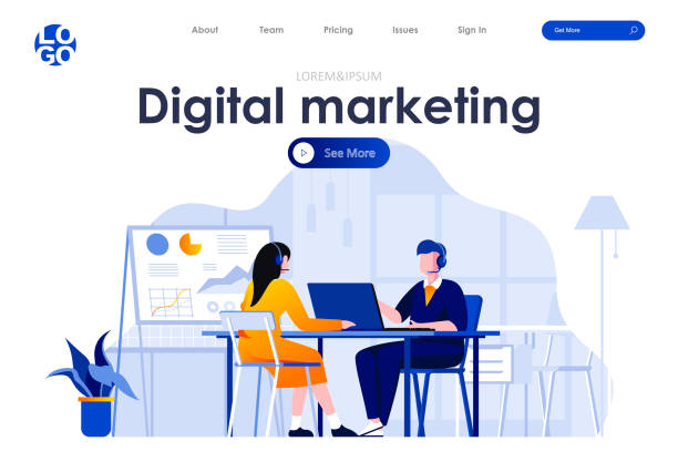 Digital marketing flat landing page design. Telemarketing operators with headsets in office scene with header. vector art illustration
