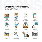 Digital Marketing Flat Line Icons Set