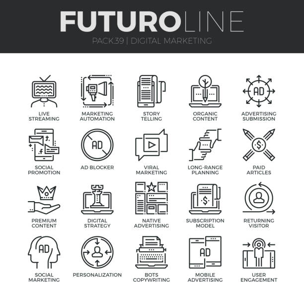 digital marketing futuro line icons set - digital marketing stock illustrations