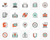 Flat line icons set of digital marketing, online campaign strategy. Unique color flat design pictogram with outline elements. Premium quality vector graphics concept for web, logo, branding, infographics.