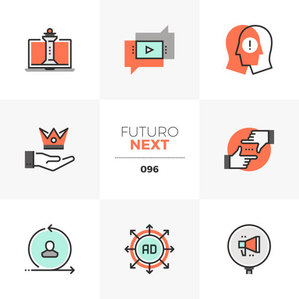 Digital Marketing Futuro Next Icons Modern flat icons set of digital marketing strategy, online business. Unique color flat graphics elements with stroke lines. Premium quality vector pictogram concept for web, symbol, branding, infographics. the bigger picture stock illustrations