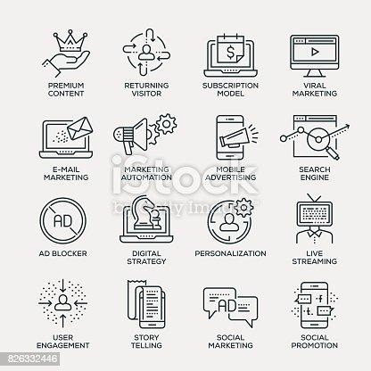 Digital Marketing Icon Set - Line Series