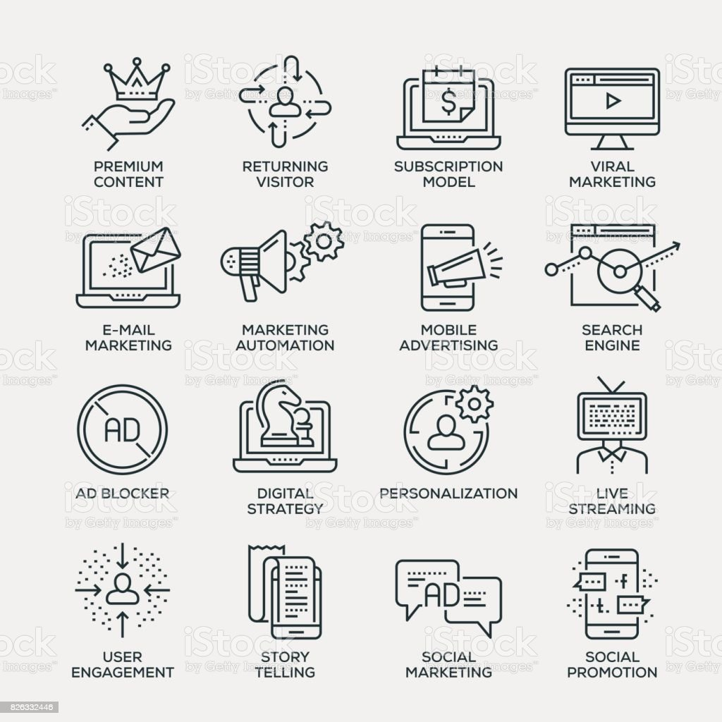 Digital Marketing Icon Set - Line Series vector art illustration