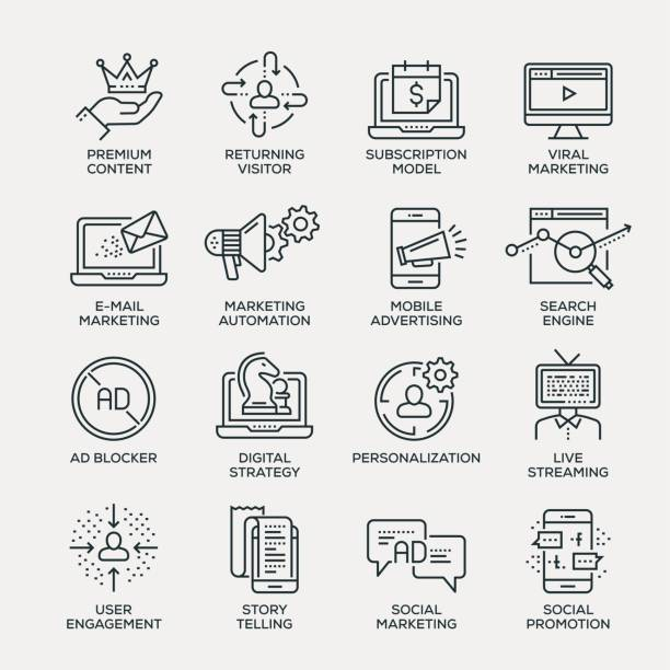 digitales marketing-icon-set - line serie - verlobung stock-grafiken, -clipart, -cartoons und -symbole