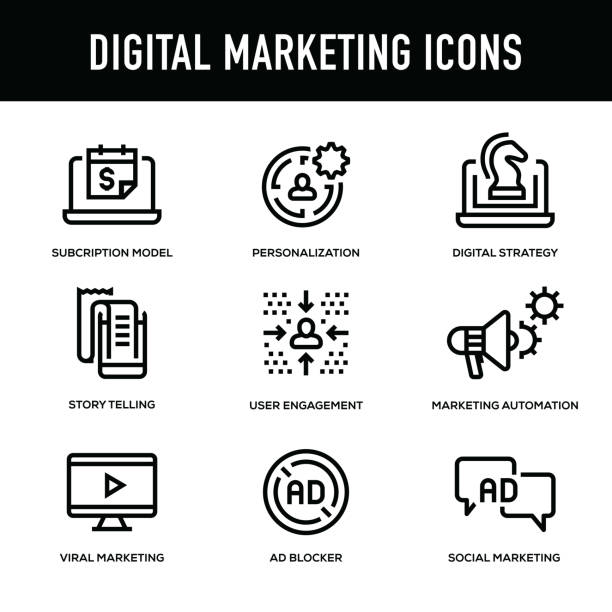 digitales marketing-icon-set - dicke linie serie - lesestrategien stock-grafiken, -clipart, -cartoons und -symbole