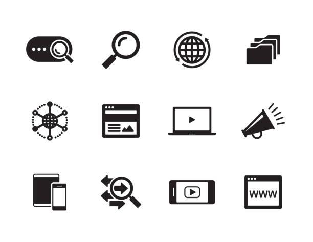 digital marketing icon set - искать stock illustrations