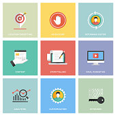 Digital Marketing Icon Set Flat Design