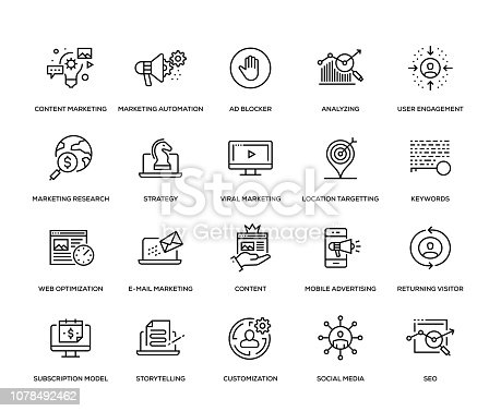 Digital Marketing Icon Set - Thin Line Series