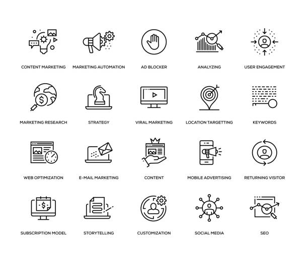 Digital Marketing Icon Set Digital Marketing Icon Set - Thin Line Series storytelling stock illustrations