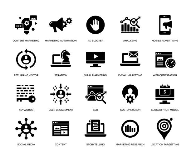 stockillustraties, clipart, cartoons en iconen met digitale marketing icon set - op maat gemaakt