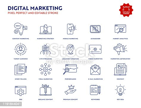 Digital Marketing Icon Set with Editable Stroke and Pixel Perfect.