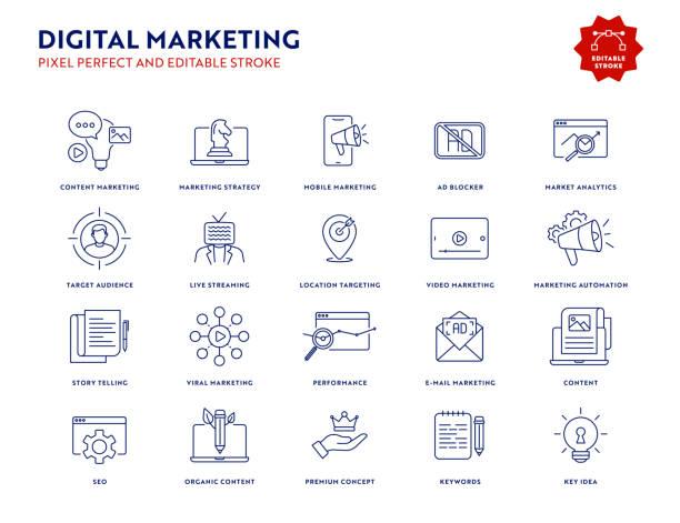 Digital Marketing Icon Set with Editable Stroke and Pixel Perfect. Digital Marketing Icon Set with Editable Stroke and Pixel Perfect. book clipart stock illustrations