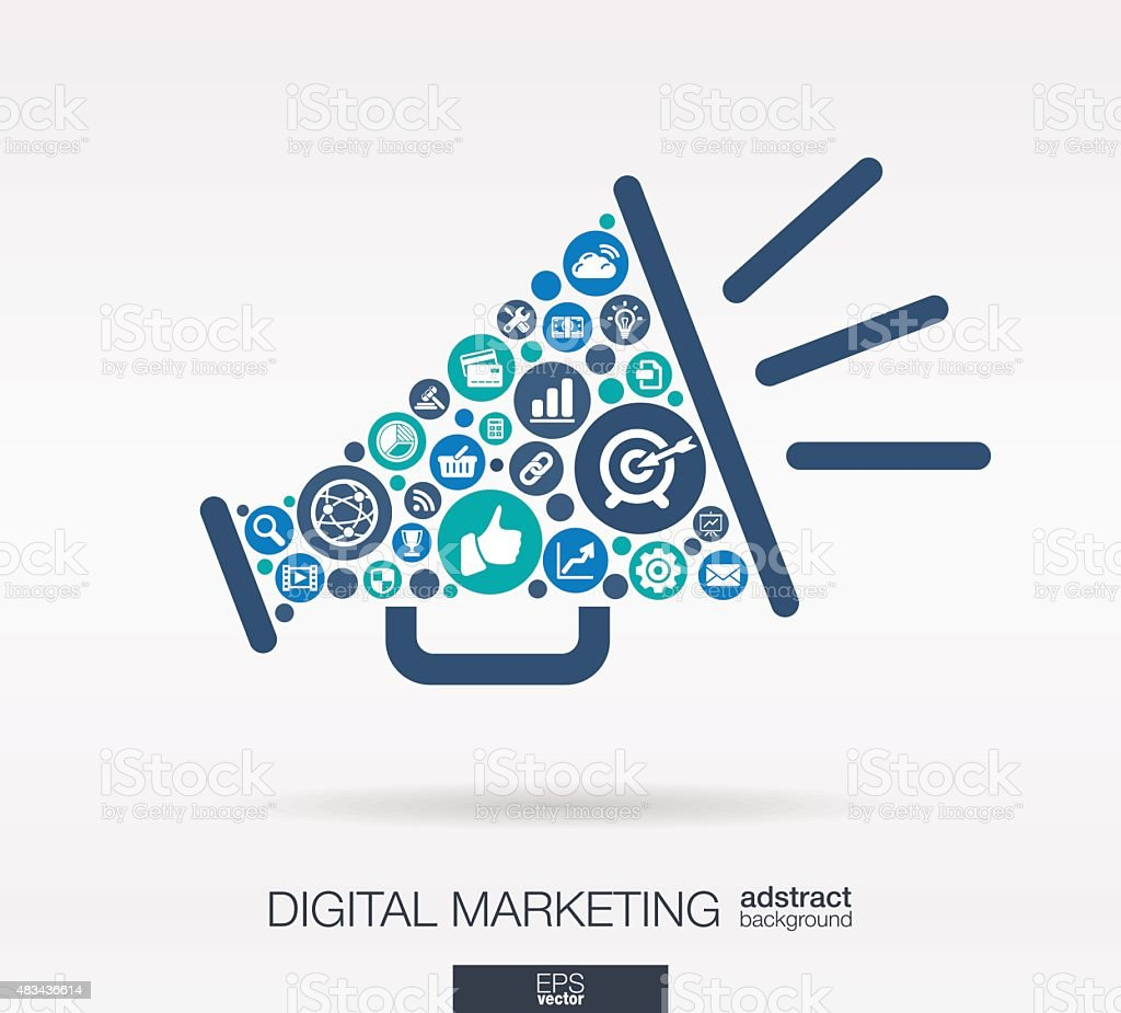 Digital Marketing Icons In Speaker Shape Abstract ...