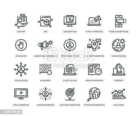 Digital Marketing Icons - Line Series