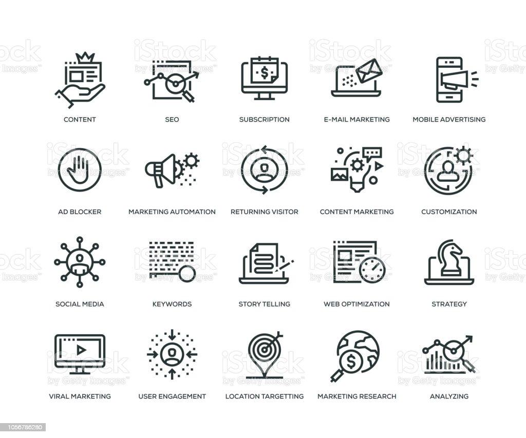 Digital Marketing Icons - Line Series vector art illustration