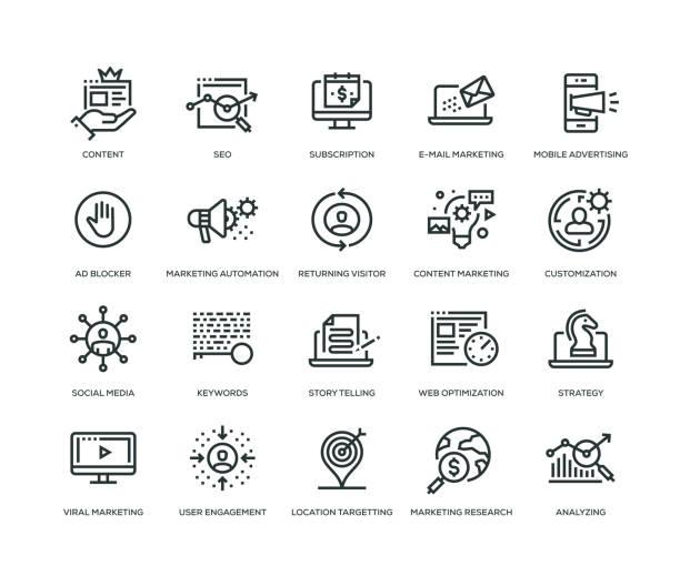 Digital Marketing Icons - Line Series Digital Marketing Icons - Line Series storytelling stock illustrations