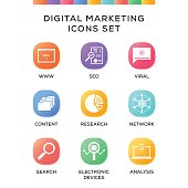 Digital Marketing Icons Set on Gradient Background