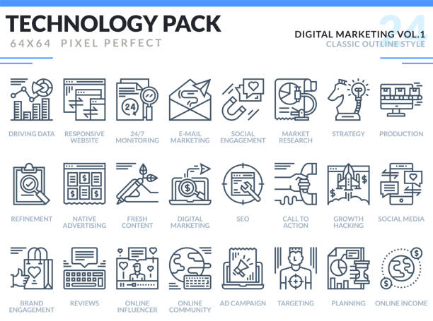 Digital Marketing Icons Set. Technology outline icons pack. Pixel perfect thin line vector icons for web design and website application. Digital Marketing Icons Set. Technology outline icons pack. Pixel perfect thin line vector icons for web design and website application. digital marketing stock illustrations