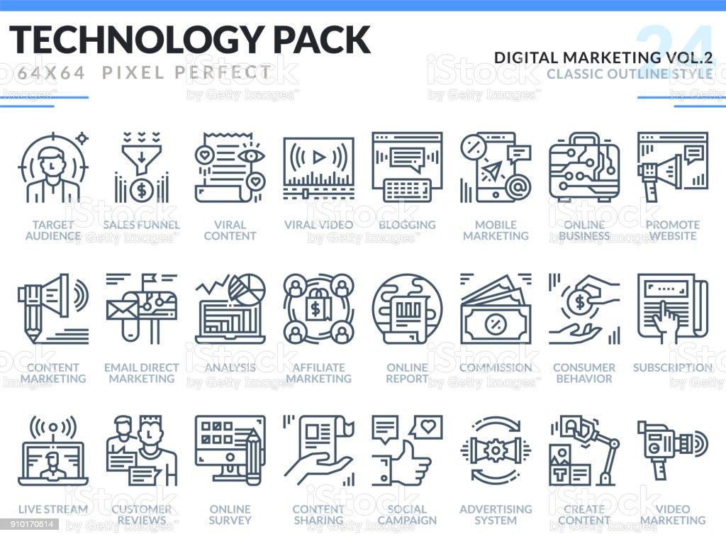 Digitales Marketing Icons Set. Technologie Umriss Icons Pack. Pixel-perfekte dünne Linie Vektor-Icons für Web-Design und Website-Anwendung. – Vektorgrafik