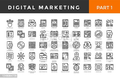 Digital marketing icons, thin line style, big set. Part one. Vector illustration