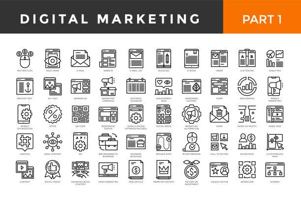 digitale marketing-icons, dünne linie stil, große menge. teil eins. - editorial stock-grafiken, -clipart, -cartoons und -symbole