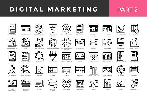 Digital marketing icons, thin line style, big set. Part two. Vector illustration
