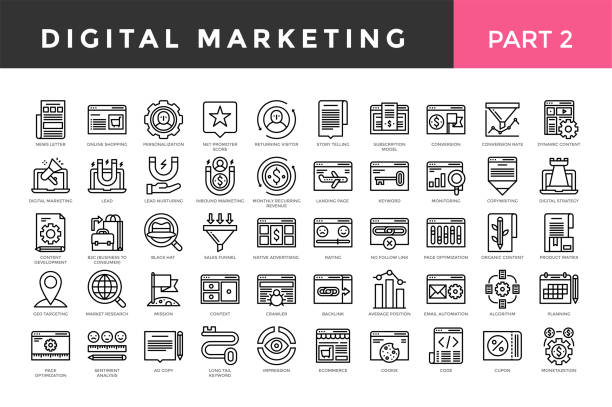 ilustrações de stock, clip art, desenhos animados e ícones de digital marketing icons, thin line style, big set. part two. - inbound marketing