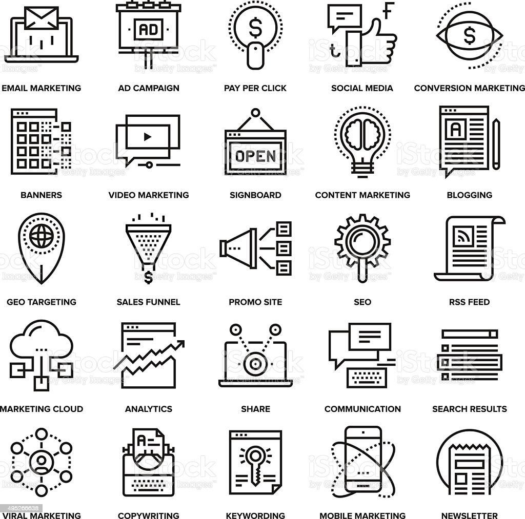 Digital Marketing Icons vector art illustration