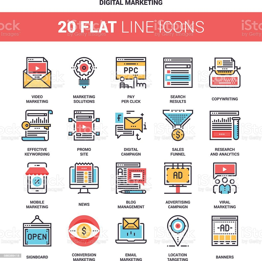 Digital Marketing Icons vector art illustration