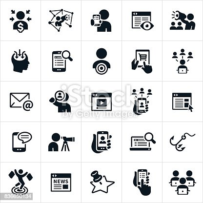 A set of digital marketing icons. The icons include social media, influencers, websites, customers, target market, email, devices, video, online news and other online marketing themes.