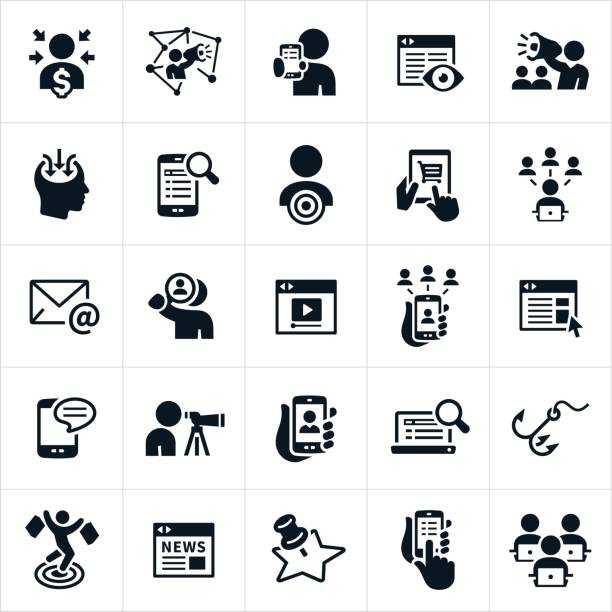 digital marketing icons - крупный план stock illustrations