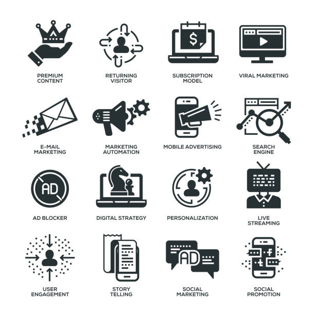 stockillustraties, clipart, cartoons en iconen met digitale marketing pictogrammen - op maat gemaakt