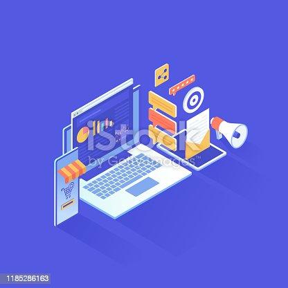 istock Digital Marketing Isometric Design 1185286163